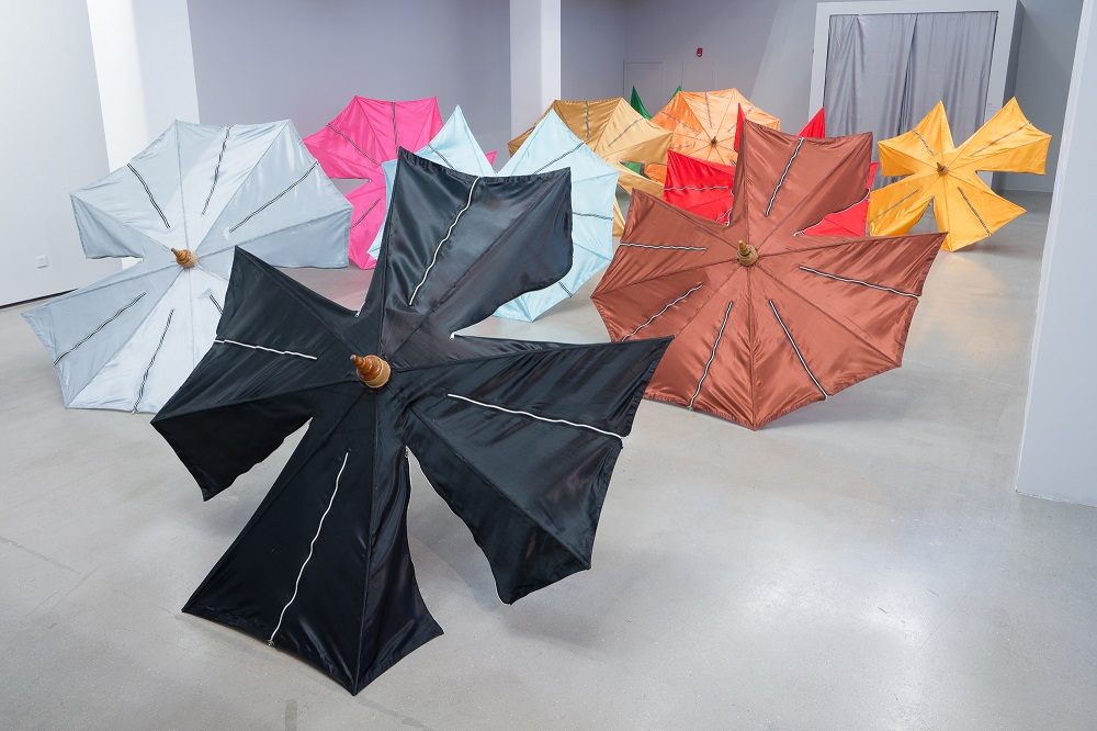 Installation view of Like Umbrella, Like King v Moe Satt