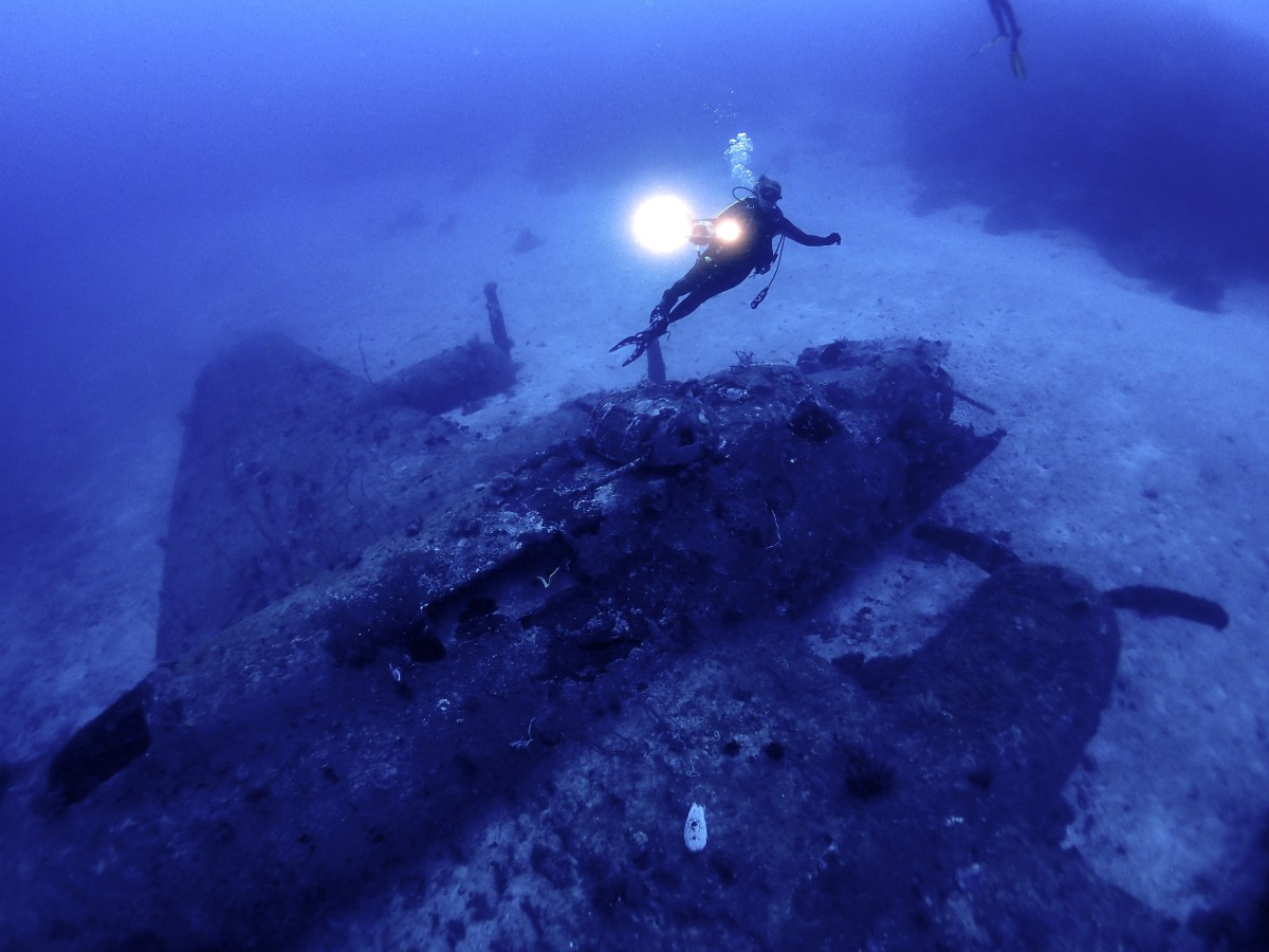 Francesca Habsburg diving a B-17 World War II bomber called Black Jack in 47 meters of depth at Boga Boga Milne Bay, Papua New Guinea, October 2015. c Craig de Wit. Copyright TBA21