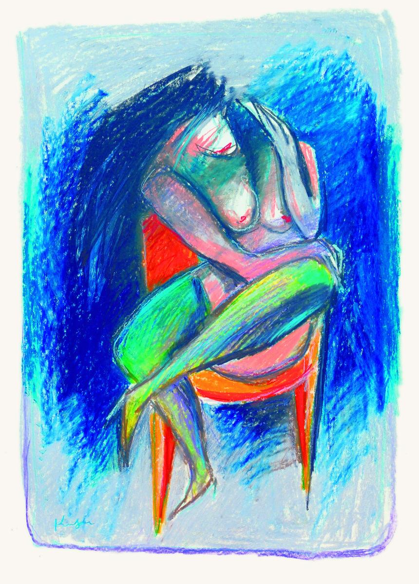 Alfred Kornberger, Erotiktänerzin mit grünen Strümpfen. c Galerie Czaak