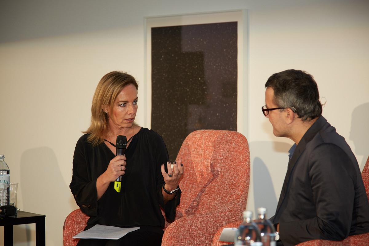Danae Stratou, Martin Fritz beim Globart Talk. c Florian Dolzer