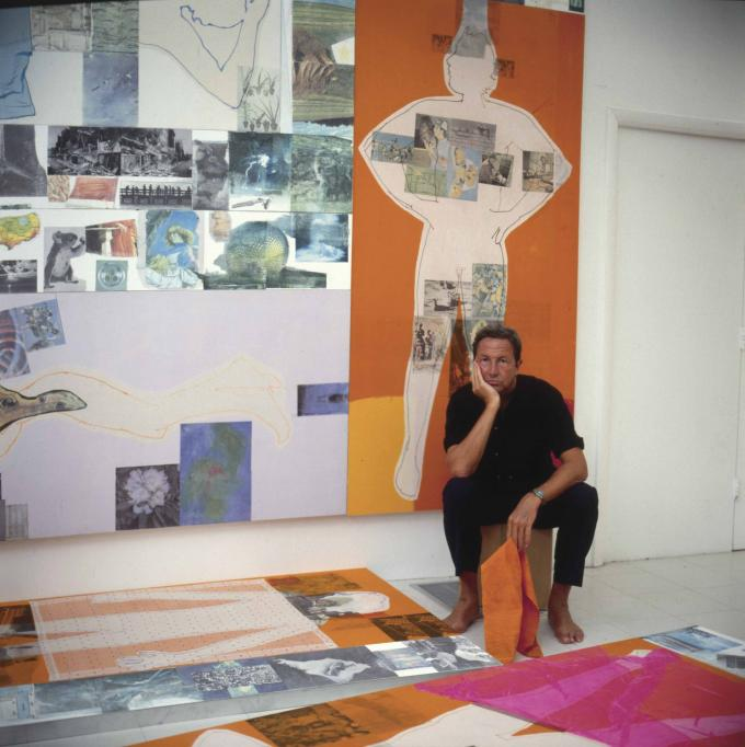 Rauschenberg working on The 1/4 Mile or 2 Furlong Piece (1981–98) in his Laika Lane studio, Captiva, Florida, ca. 1983. Photo: Attributed to Terry Van Brunt