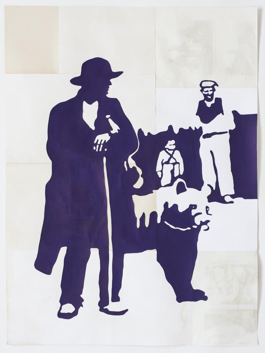 Ulla von Brandenburg, Mann mit Bär. Galerie Mezzanin, Genf