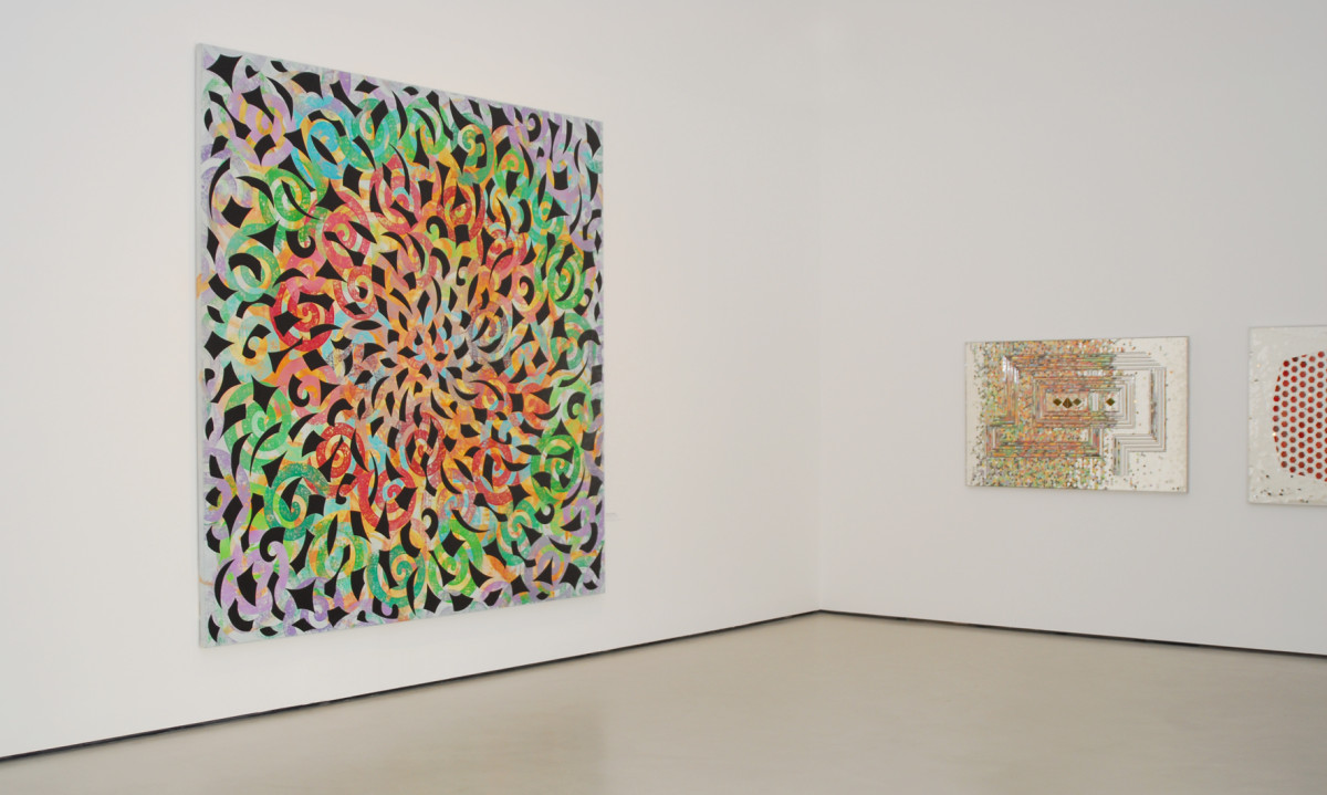 "Philip Taaffe, Monir Sharoudy Farmanfarmaian, installationshot ""Power of Onrmanet"", 2008. Belvedere, Vienna. curated by Sabine B. Vogel"