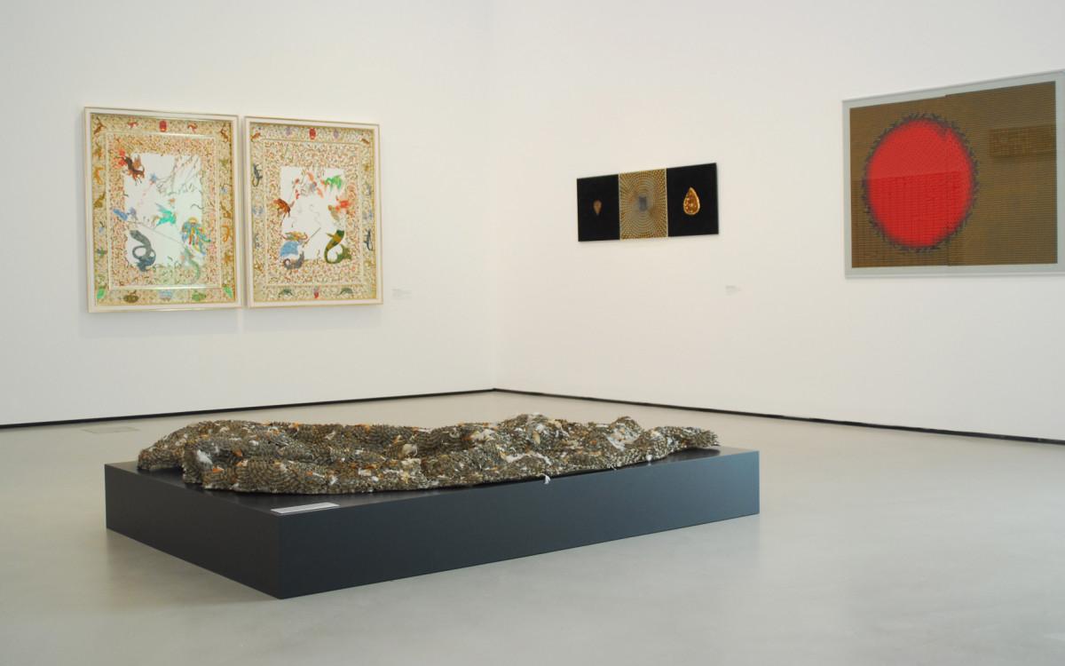 "exhibition ""Power of Ornament"", Belvedere, 2011, on the right side Aisha Khalid (floor: Sakshi Gupta, left: Raqib Shaw; curated by Sabine B. Vogel)"