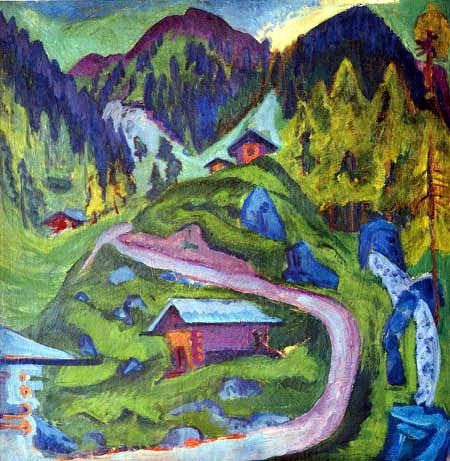 Kirchner,Berglandschaft mit Almhütten // reproarte.com
