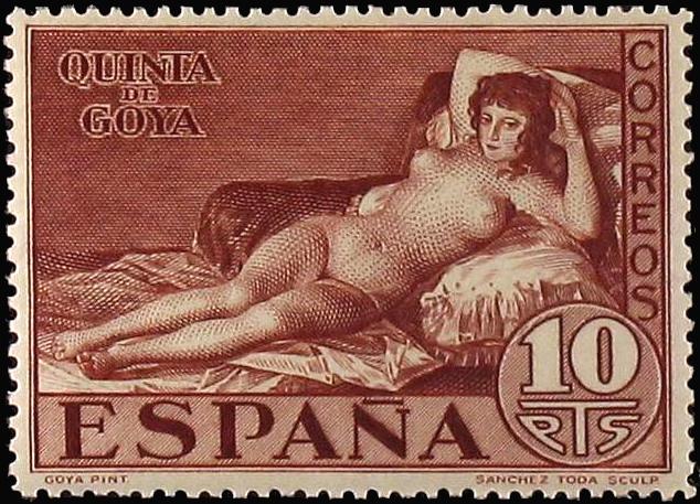 """Goyas """"Die schöne Maya"""" auf einer spanischen Briefmarke 1930"""