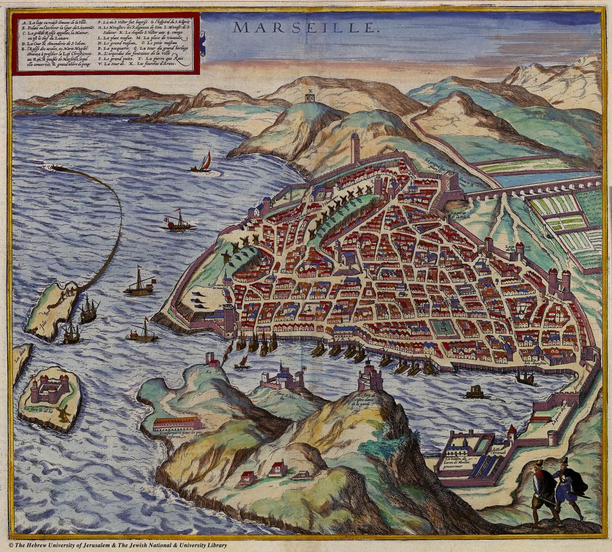 Plan de Marseille en 1575, Braun and Hogenberg, Civitates Orbis Terrarum, II-12, 1575