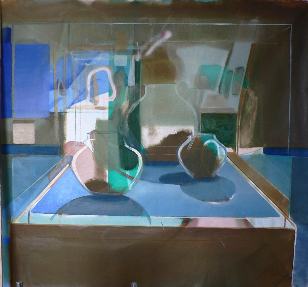 Katherina Olschbaur, Reflections Distractions, Öl/Lw, 2015. Christine König Galerie