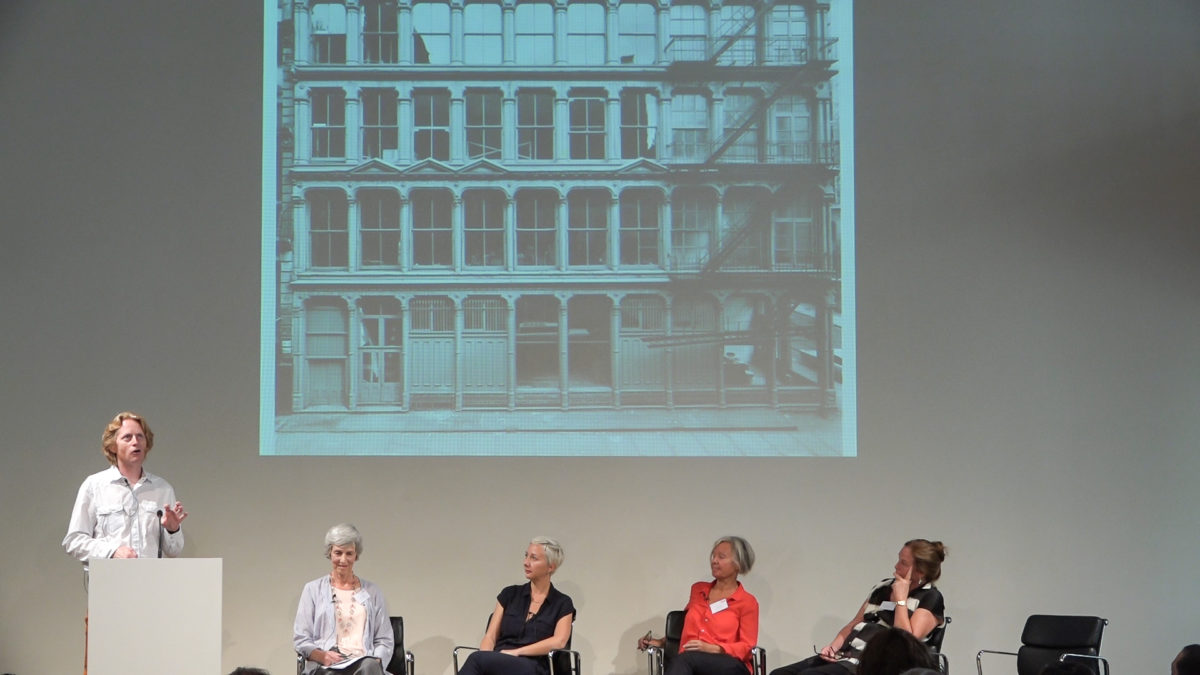 Flavin Judd, Magda Salvesen, Hélène Vandenberghe, Mary Moore and Mayen Beckmann at Keeping the Legacy Alive, the Institute for Artists' Estates' inaugural conference in Berlin, 2016. Photo OTB Media. Courtesy the Institute for Artists' Estates