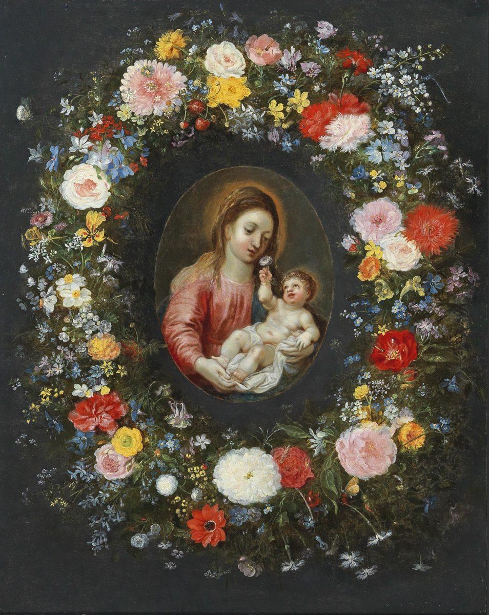 Jan Brueghel I und Jan Brueghel II und Hendrik van Balen, Blumengirlande um eine Madonna mit Kind, Öl auf Kupfer, 45,9x36.6, gerahmt. erzielter Preis: Euro 68.275, Schätzwert 30.000-40.000