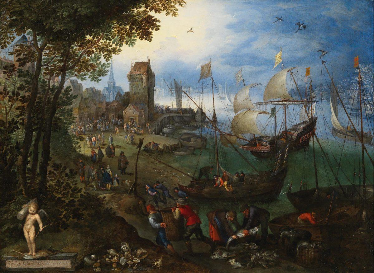Jan Brueghel I, Belebte Hafenszene auf der Schelde von Antwerpen, Öl auf Kupfer, 38x52 cm, gerahmt. erzielter Preis: 430.742, Schätzwert 250.000-350.000