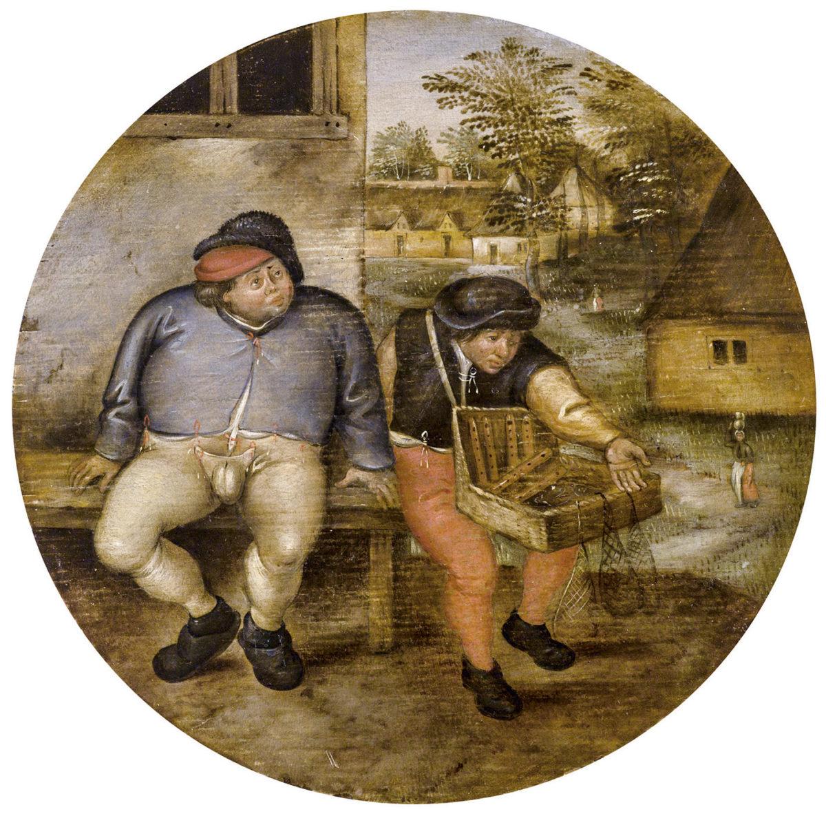 Pieter Brueghel II., Der dicke Bauer und Krämer auf einer Bank, Flämisches Sprichwort, Öl auf Holz, Tondo, Dm 18 cm, gerahmt. erzielter Preis: 216.784, Schätzwert 180.000 - 220.000 Euro