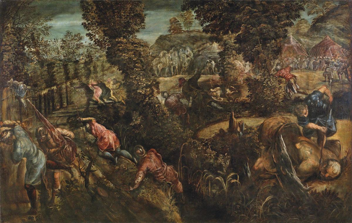 Jacopo Tintoretto, Die Schlacht zwischen Philistern und Israeliten, Öl auf Leinwand, 146x230,7 cm, gerahmt. erzielter Preis: 907,500, Schätzwert 300.000-400.000 Euro