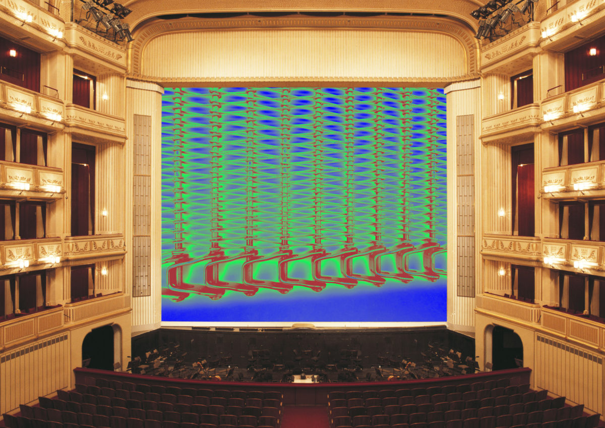 Eiserner Vorhang + Simulation Tauba Auerbach: A Flexible Fabric of Inflexible Parts III, Eiserner Vorhang, Wiener Staatsoper, 2016/ 2017, © museum in progress