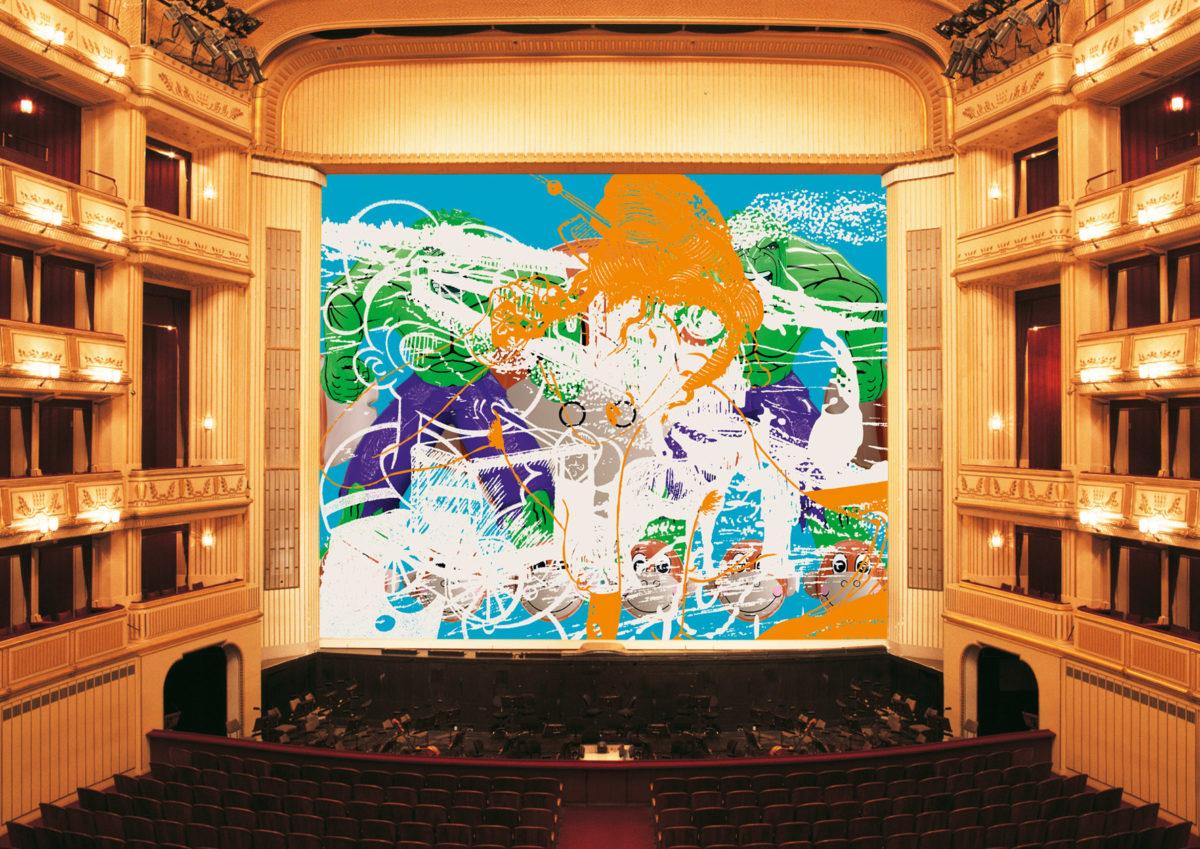 """Jeff Koons, """"Geisha"""", Eiserner Vorhang, Wiener Staatsoper, 2007/2008, © museum in progress"""