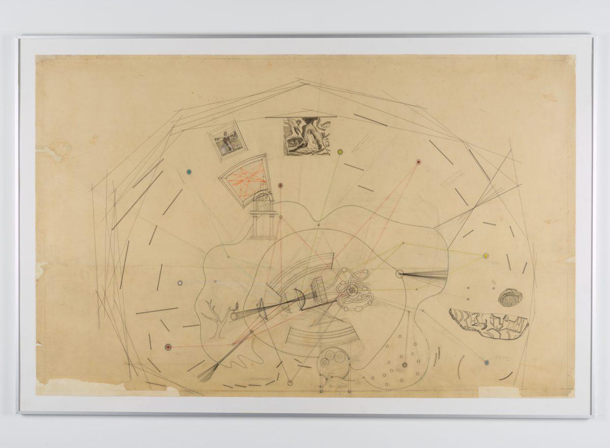 Friedrich Kiesler, Plan zur Vision Machine, 1940/1941. Zeichnung, Bleistift und Buntstift auf Transparentpapier. Sammlung Dieter und Gertraud Bogner im mumok seit 2017 Photo: mumok