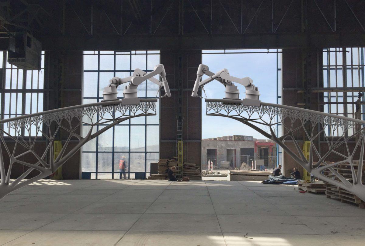 Joris Laarman for MX3D, Bridge Project, 2015; Von Robotern 3-D-gedruckte Fußgängerbrücke © Joris Laarman Lab