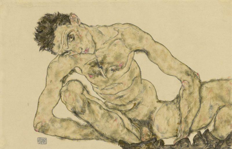 Egon Schiele, Aktselbstbildnis, 1916. Bleistift, Deckfarben. Albertina, Wien