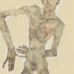 Egon Schiele, Grimassierendes Aktselbstbildnis, 1910. Bleistift, Kohle, Pinsel, Deckfarben mit proteinhaltigen Bindemitteln, Deckweiß auf Packpapier. Albertina, Wien