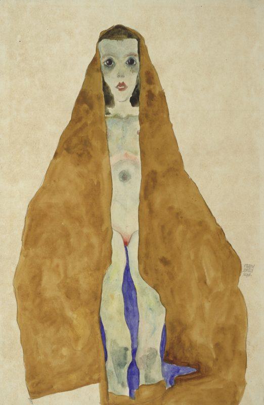 Egon Schiele, Junger Mädchenakt im ockerfarbigen Tuch, 1911. Bleistift, Aquarell auf Japanpapier, grundiertAlbertina, Wien