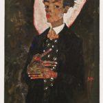 Egon Schiele, Selbstbildnis mit Pfauenweste, 1911. Gouache, Tempera, Aquarell und blaue Kreide auf Papier, auf Karton aufgezogen. Ernst Ploil, Wien