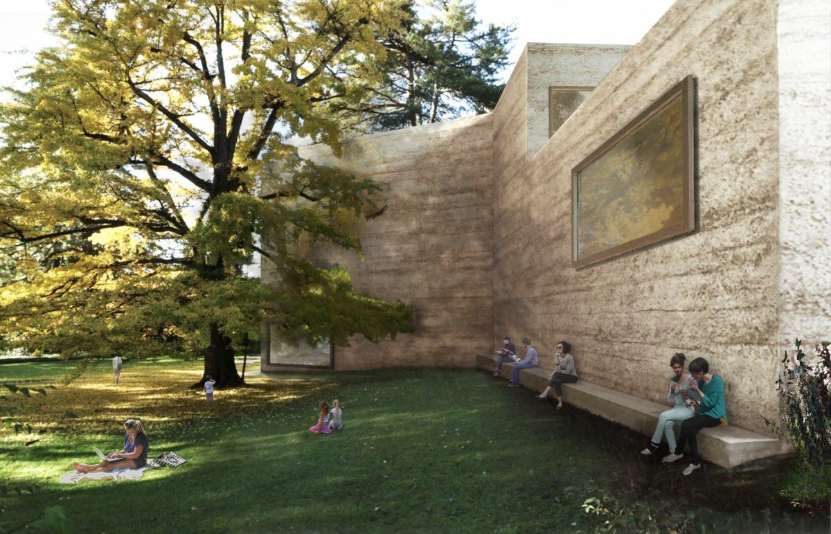 Erweiterungsprojekt, Sicht aus dem Iselin-Weber-Park.Courtesy Atelier Peter Zumthor & Partner
