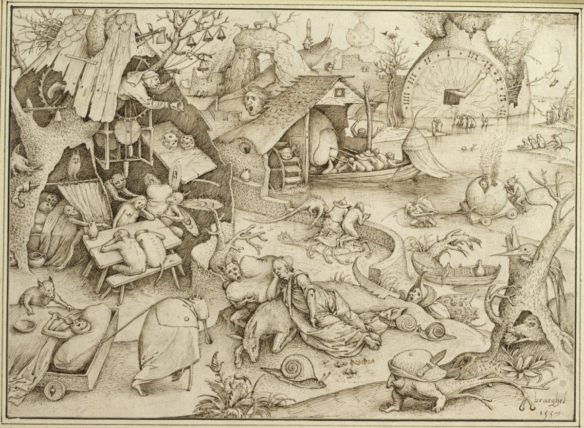 Pieter Bruegel d. Ä., Die Trägheit, 1557, Feder in Graubraun. © Albertina, Wien