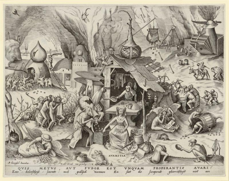 Pieter Bruegel d. Ä., Habgier, 1558 Kupferstich. Albertina