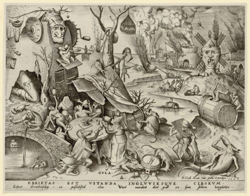 Pieter Bruegel d. Ä., Völlerei, 1558 Kupferstich. Albertina