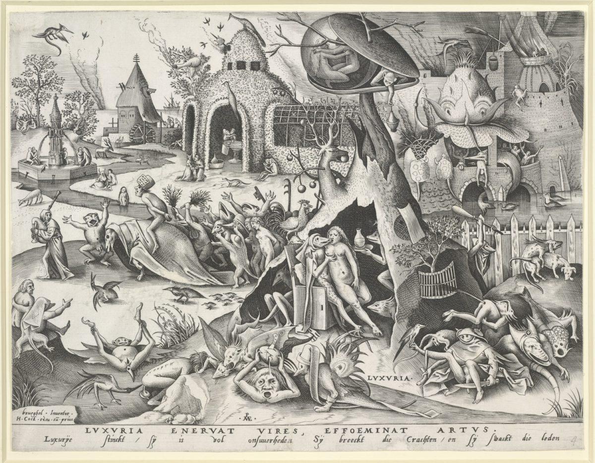 Pieter Bruegel d. Ä., Wollust, 1558 Kupferstich. Albertina