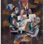 Heinrich Campendonk, Wirtshausscene, 1919, Crayon, gouache et huile sur carton épais, 71,7 x 53,5 cm, Strasbourg, Musée d'Art moderne et contemporain © Musées de Strasbourg © Adagp, Paris 2017