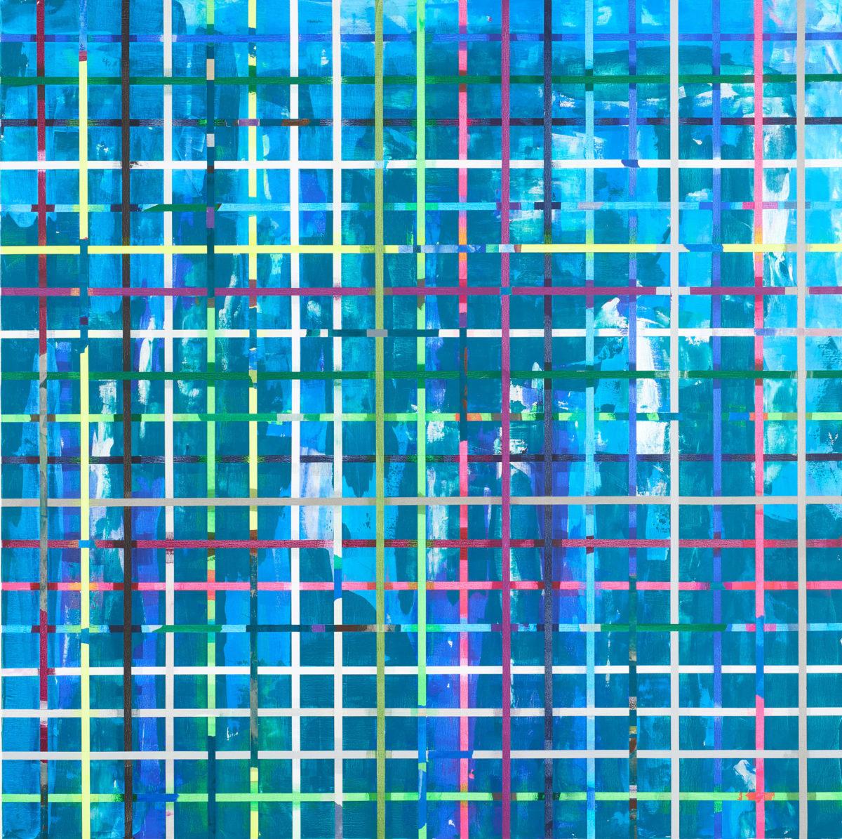 Zobernig Heimo, Ohne Titel, Acryl auf Leinwand, collagiert, 2017