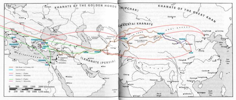 Abigail Reynolds, Landkarte der geplanten Reise entlang der Seidenstraße, 2016