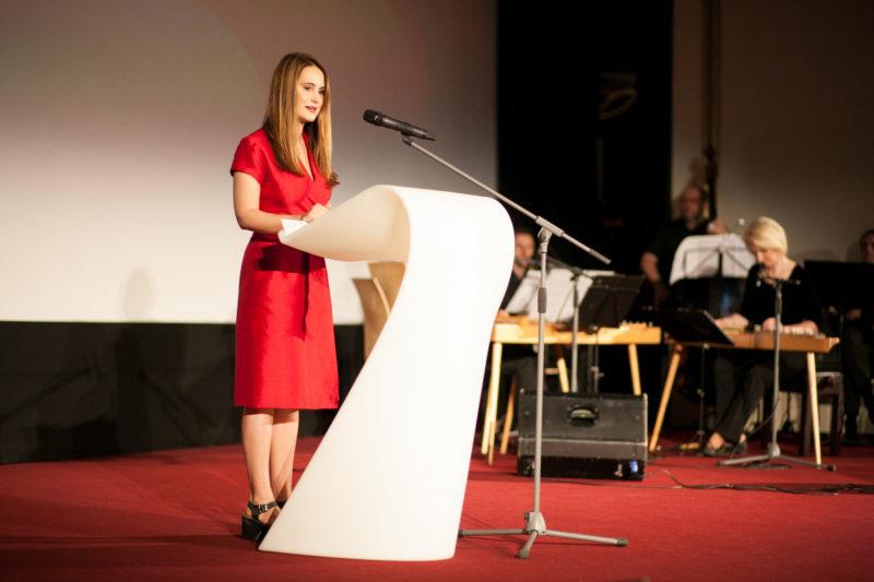 Ag auf der Eröffnungszeremonie RIBOCA1, 2018. Foto Didzis Grodzs