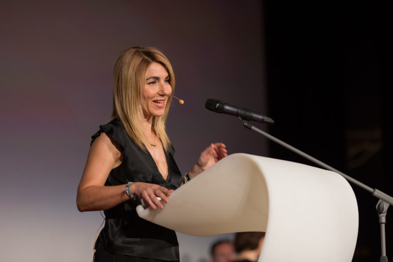 Katarina Gregos auf der Eröffnungszeremonie RIBOCA1, 2018. Foto Peteris Viksna