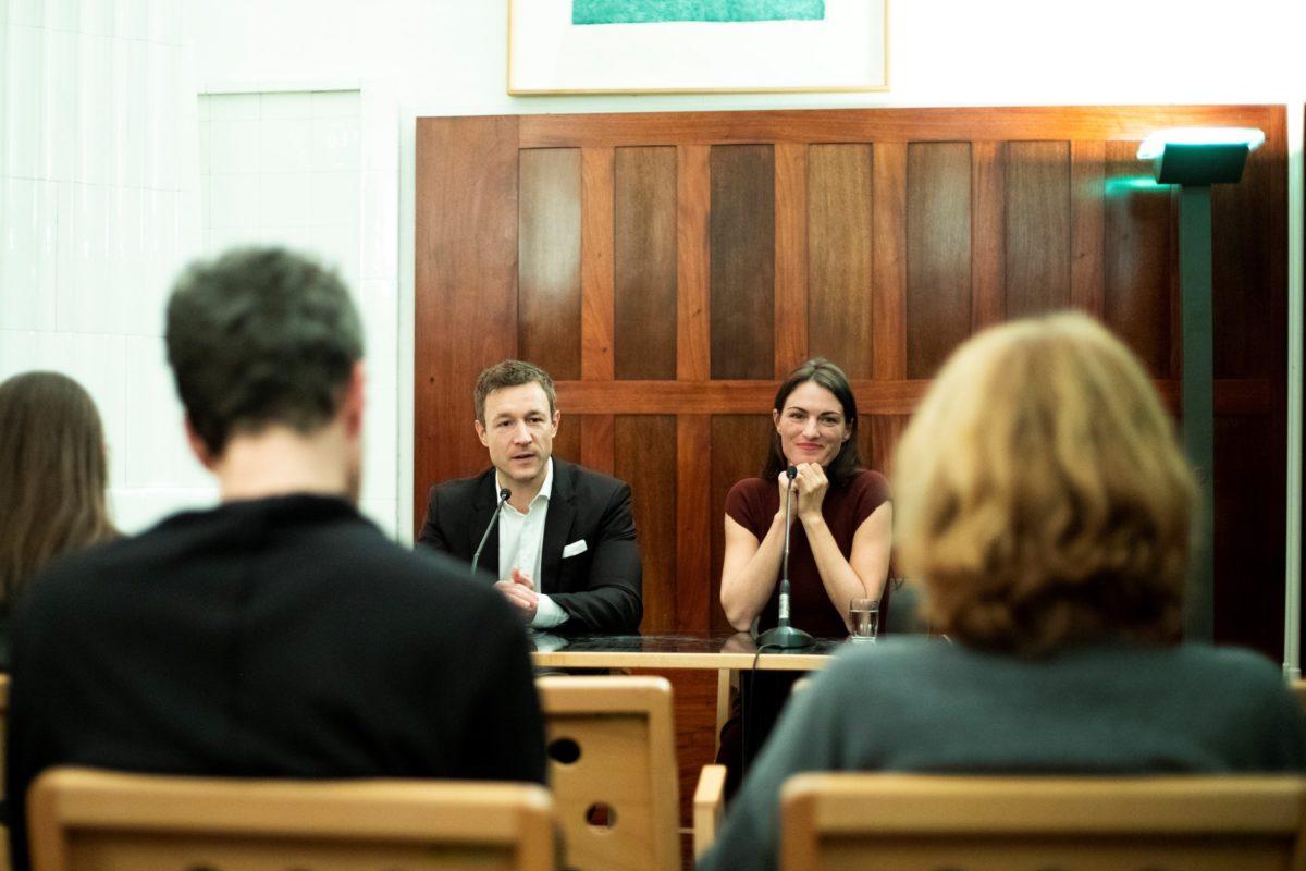Kulturminister Gernot Blümel und Architektur Biennale Kommissärin Verena Konrads während der Pressekonferenz am 26.11.2018