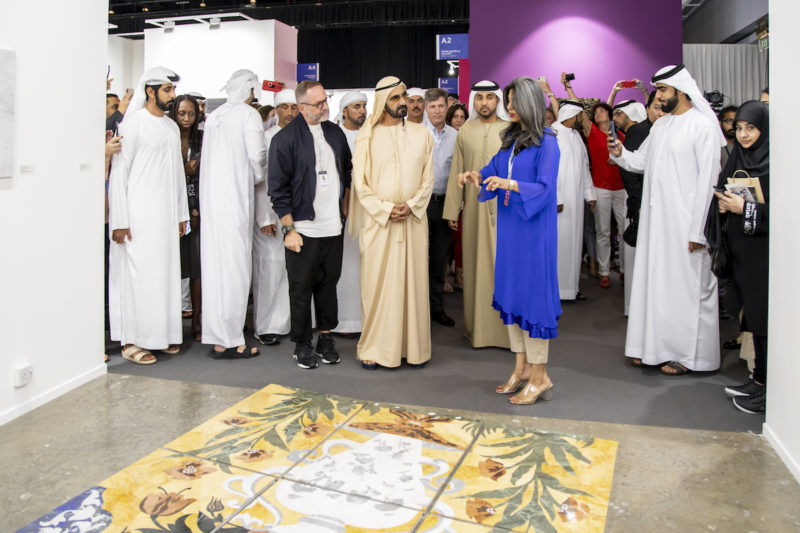 HH Sheikh Mohammed bin Rashid Al Maktoum Vice President and Prime Minister of the United Arab Emirates, Vice President and Prime Minister of the United Arab Emirates, and Ruler of the Emirate of Dubai visits Canvas G, Art Dubai 2019. Courtesy Photo Solutions