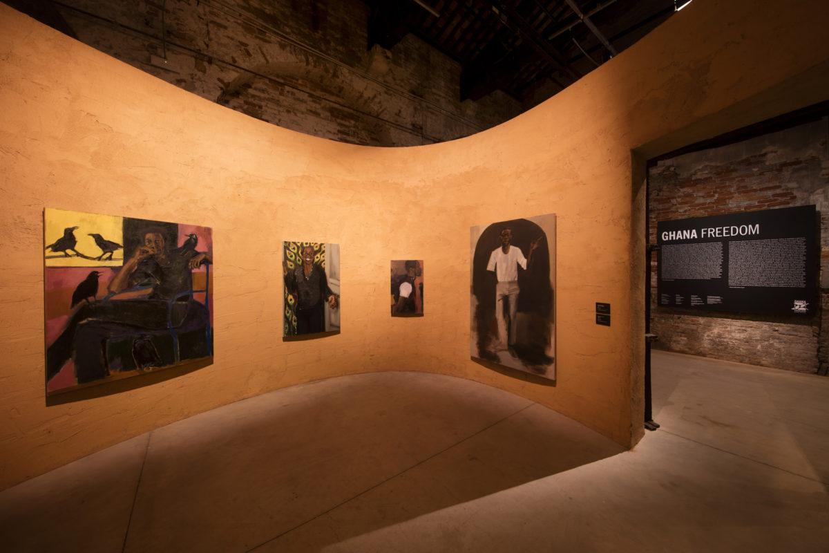 Lynette Yiadom-Boakye. The Ghana Pavilion, curated by Nana Oforiatta Ayim and designed by David Adjaye, at the 58th Biennale di Venezia. Venice Biennale. Venice, Italy. Photograph by David Levene 6/5/19