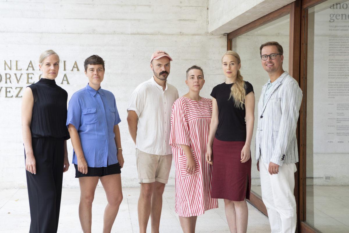 Piia Oksanen, Ingela Ihrman, Janne Nabb, Maria Teeri, Ane Graff, Leevi Haapala Venice, 2018. Foto:Kansallisgalleria | Pirje MykkänenFinnish National Gallery | Pirje Mykkänen Mykkänen