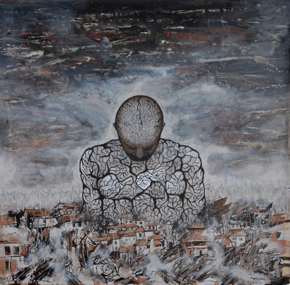 Asha Dangol, Aftermath, Acryl auf Leinwand, 2015 © Asha Dangol
