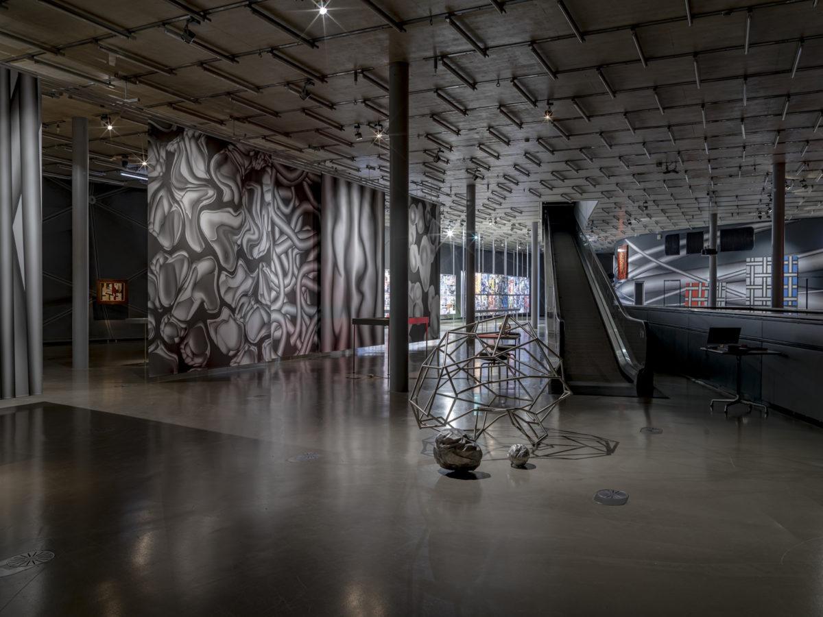 Ausstellungsansicht Peter Kogler, Connected. Kunsthaus Graz