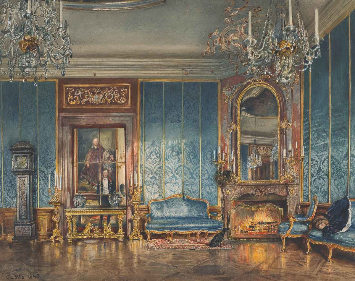 Rudolf von Alt, Der Blaue Salon in Schloss Feldsberg, 1845, Aquarell. © LIECHTENSTEIN. The Princely Collections, Vaduz–Vienna
