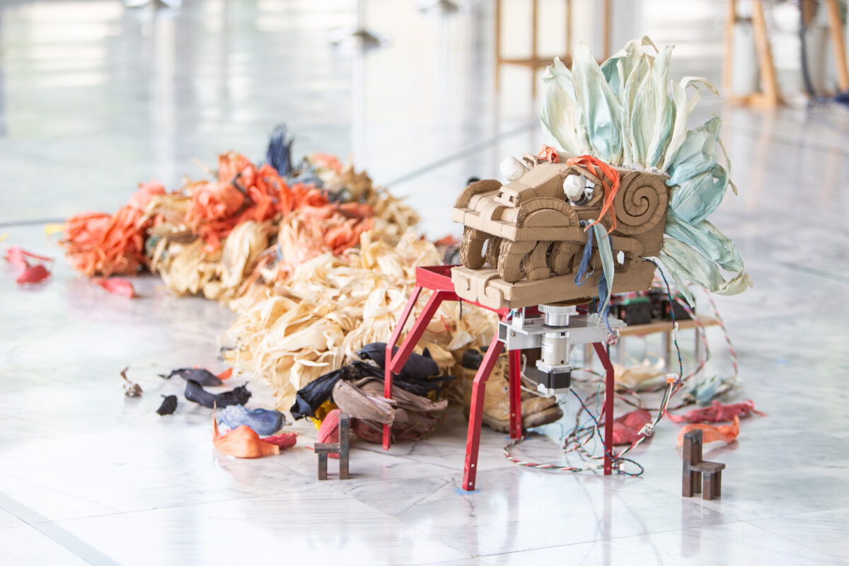 Fernando Palma Rodríguez, Quetzalcóatl, 2006, corn husk, software, hardware, mixed mediadimensions, dimensions variable. Courtesy of the Artist and Taipei Fine Arts Museum.