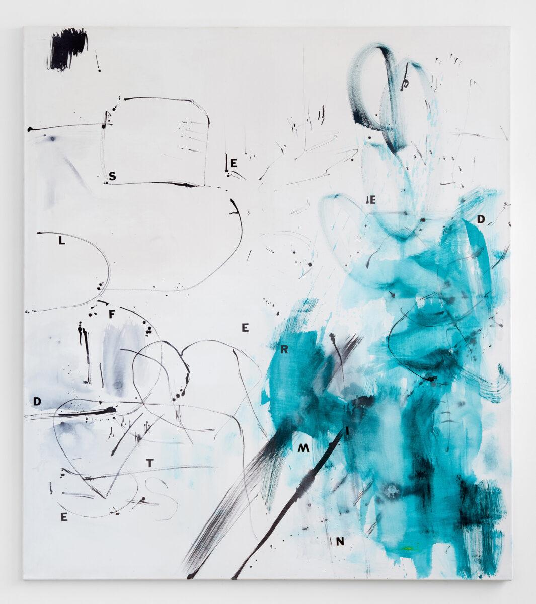 HEIKE-KARIN FÖLL, Self determined, 2016. Gouache, ink and vinyl letters on canvas. Courtesy the artist and Campoli Presti, London, Paris (15.000,-). Artissima 2020