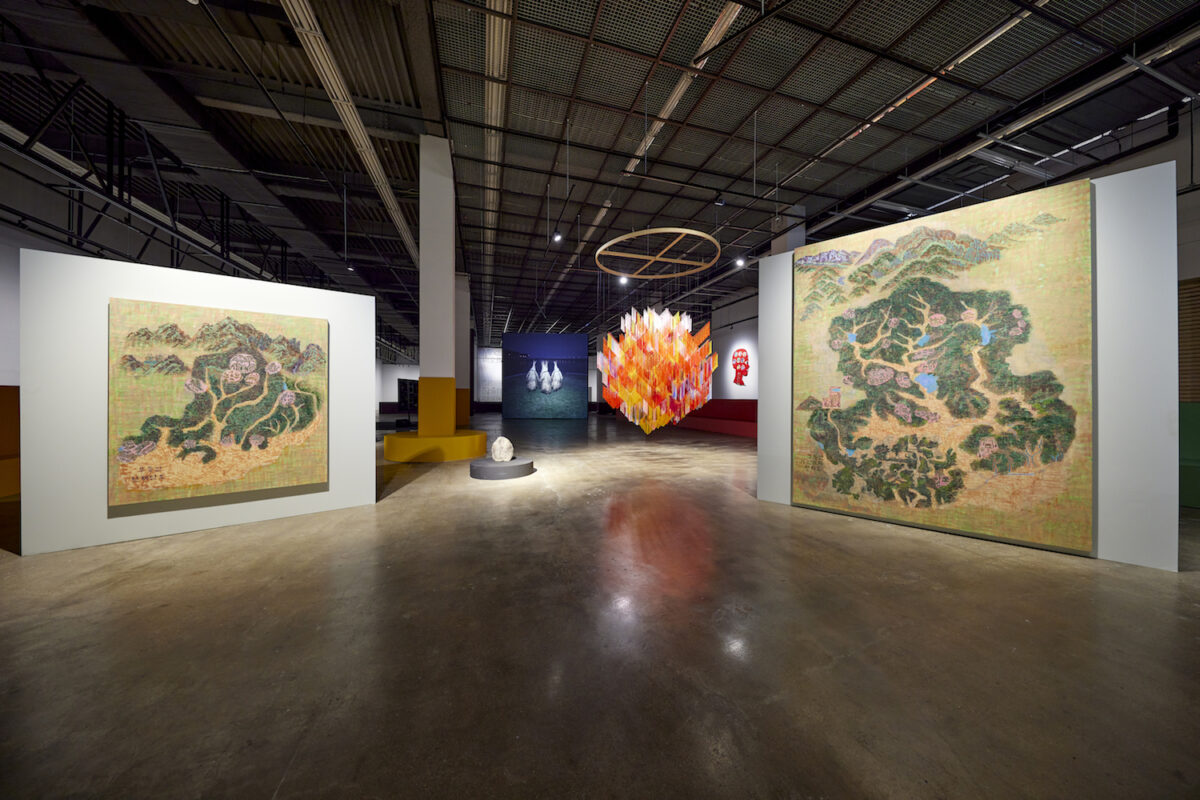 Minds Rising, Spirits Tuning, exhibition view 13th Gwangju Biennale, 2021, works by Min Joung-Ki, Outi Pieski, John Gerrard, and relics from the The Museum of Shamanism, photo: Sang tae Kim