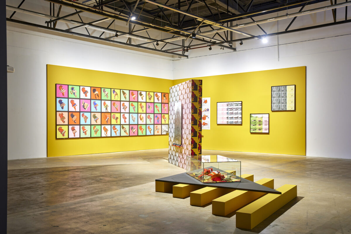 Outi Pieski, Máttaráhku ládjogahpir – Foremother's Hat of Pride, 2017–ongoing, exhibition view 13th Gwangju Biennale, 2021, photo: Sang tae Kim