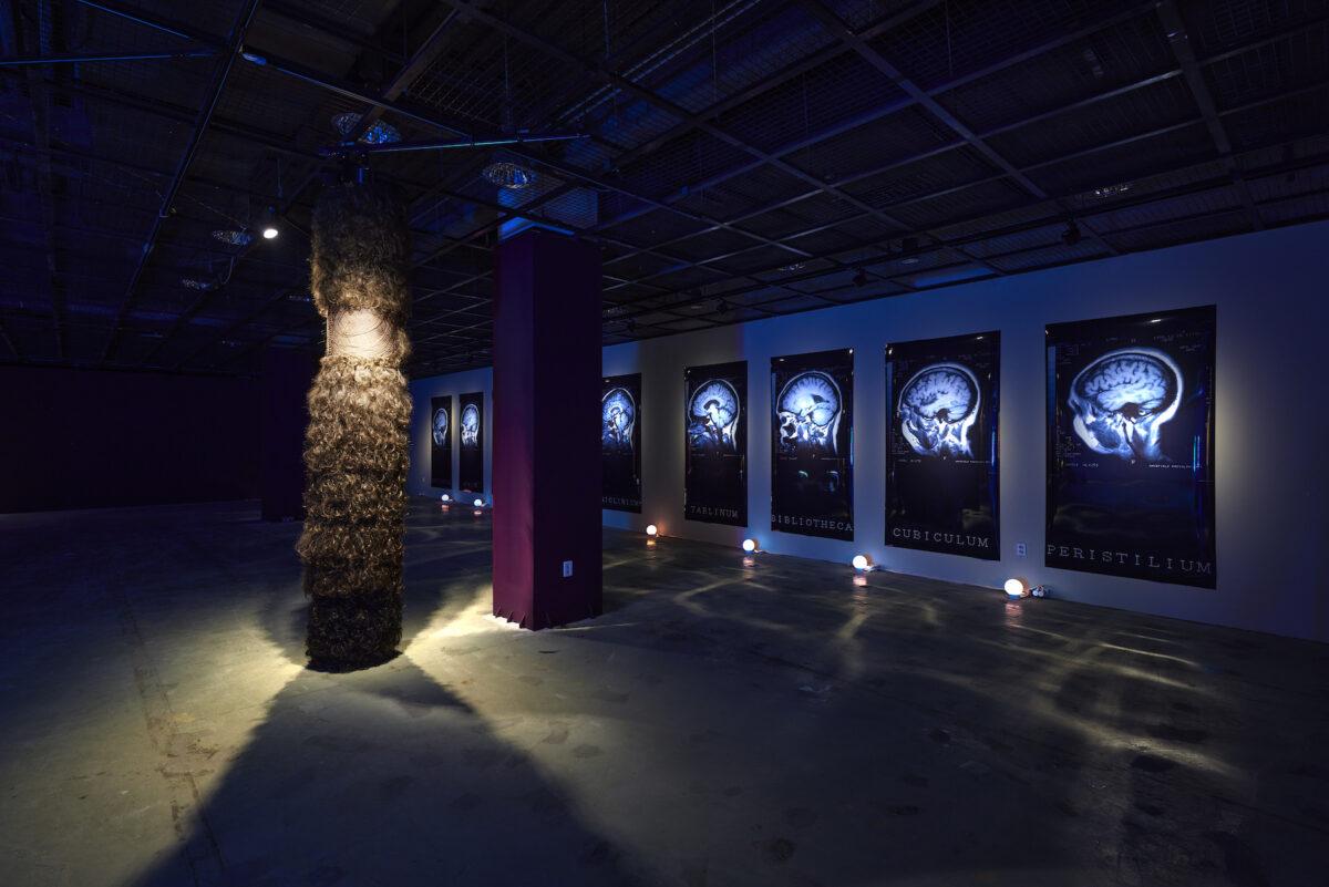 Vivian Lynn, Caryatid, 1986; Spin: Versor Versari, 1995–97, exhibition view 13th Gwangju Biennale, 2021, photo: Sang tae Kim