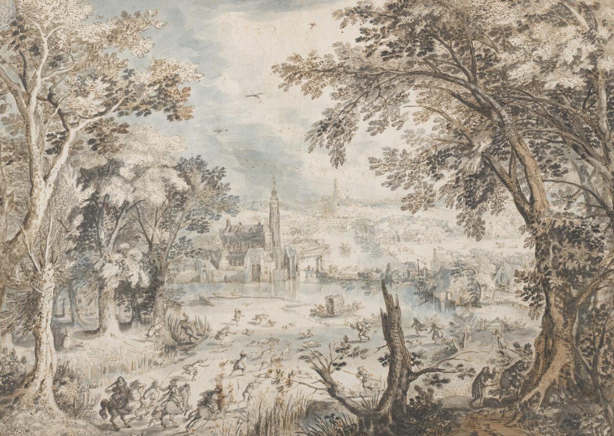 David Vinckboons, Landschaft mit Hasenjagd, 1601/02. Albertina, Wien