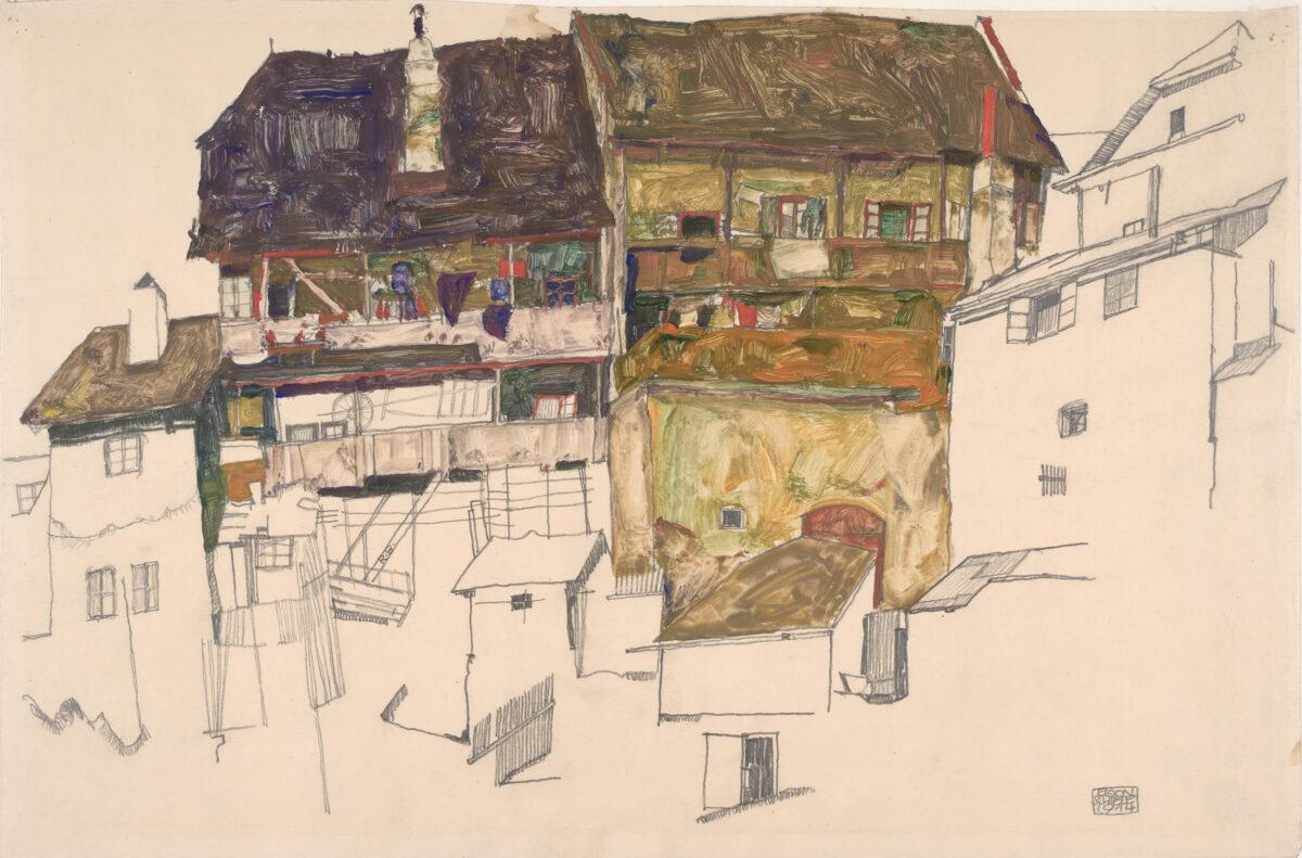 Egon Schiele Alte Häuser in Krumau, 1914. ALBERTINA, Wien
