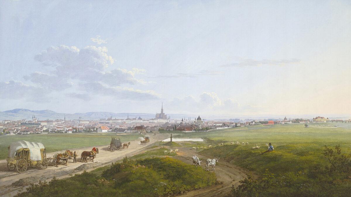 Jakob Alt, Blick auf Wien von der Spinnerin am Kreuz, 1817. Aquarell, Deckfarben. Albertina, Wien